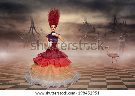 Alice in wonderland wearing prom dress and brewing tea