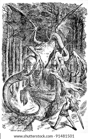 """Alice is battling the Jabberwocky - Engraving by John Tenniel (United Kingdom, 1872). Illustration from the book """"Through the Looking Glass and what Alice Found There"""" (1923, Moscow, USSR) - stock photo"""