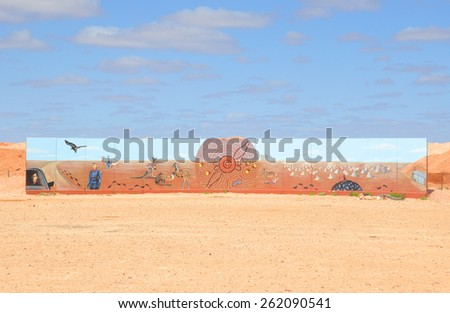 ALICE SPRINGS ,AUSTRALIA - JULY 20,2012 ,Hand Drawn of Australia Picture Wall. - stock photo
