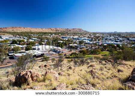 Alice Springs, Australia - June 27: View from Anzac Hill on a fine winter's day in Alice Springs, Northern Territory, Australia on June 27th 2015. - stock photo