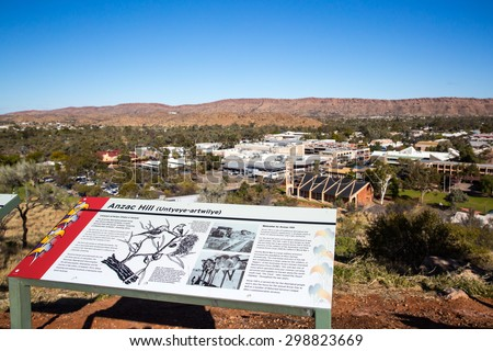 ALICE SPRINGS, AUSTRALIA - JUNE 27: View from Anzac Hill with signage on a fine winter's day in Alice Springs, Northern Territory, Australia on June 27 2015 - stock photo