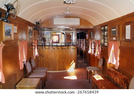 ALICE SPRINGS, AUSTRALIA - MARCH 02: Saloon wagon with bar of the old Ghan railway in Ghan museum, on March 02, 2008 in Alice Springs, Australia - stock photo