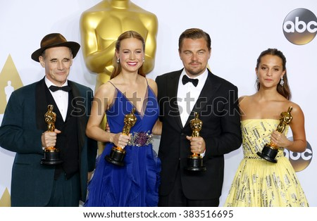 Alicia Vikander, Brie Larson, Leonardo DiCaprio and Mark Rylance at the 88th Annual Academy Awards - Press Room held at the Loews Hollywood Hotel in Hollywood, USA on February 28, 2016.