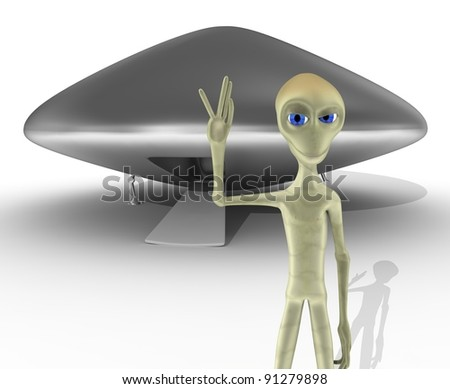 alien and UFO waving