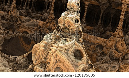 Alien Architecture Inside Spaceship - stock photo