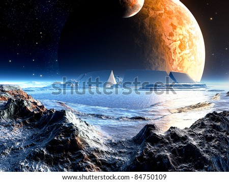 Alien Arena Ruins under Two Moons - stock photo