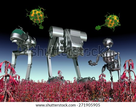 Alien Attack Computer generated 3D illustration - stock photo