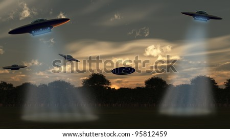 Alien attack.UFO over forest, the sunset sky. 3D rendering - stock photo
