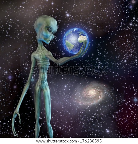 Alien being ponders earth - stock photo