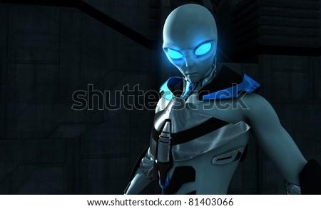 Alien character - stock photo