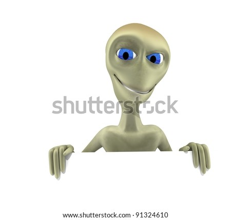 alien character showing up - stock photo