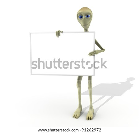 alien character with sign whole body - stock photo