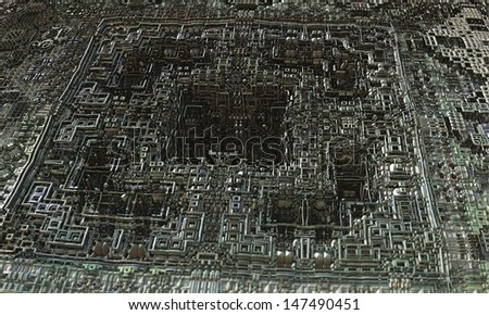Alien Circuits science fiction abstract fractal design for backgrounds and wallpapers - stock photo