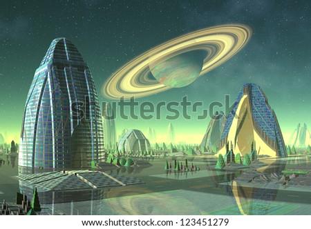 Alien City - Computer Artwork - stock photo