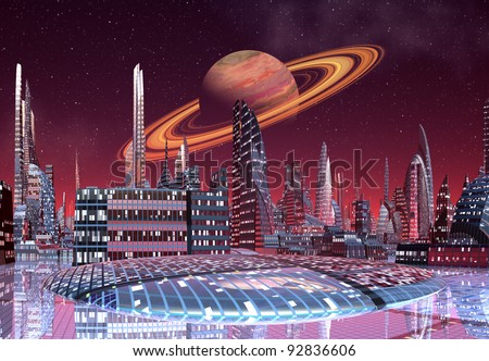 Alien City, fantasy city skyline on an alien planet - stock photo