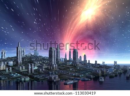 Alien City Skyline - stock photo