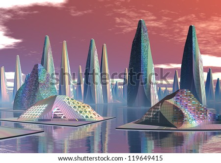 Alien City With Modern Buildings - stock photo
