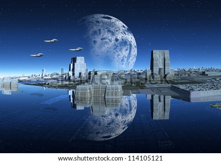 Alien City With Water, Moon And Spaceships