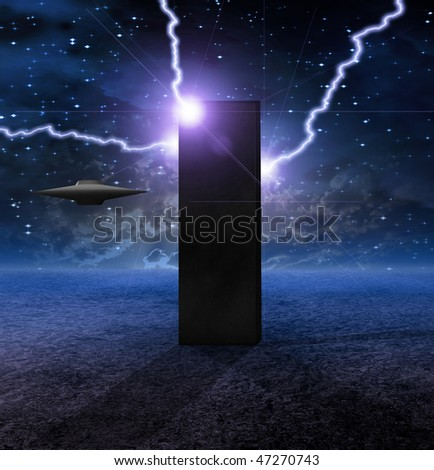 Alien Craft Approaches Monolith - stock photo