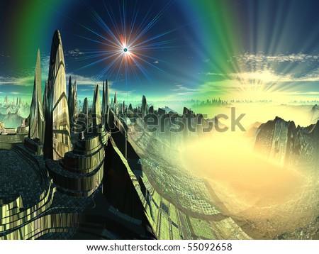 Alien Emerald City - stock photo