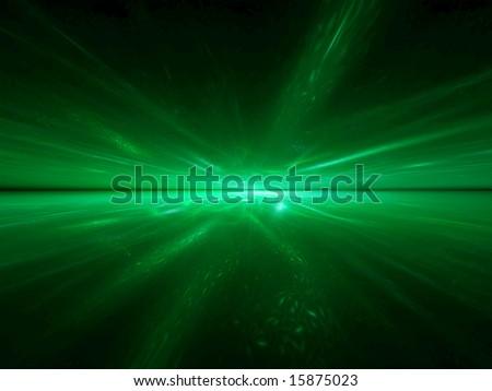 Alien Emerald Ocean - 3D fractal landscape - stock photo