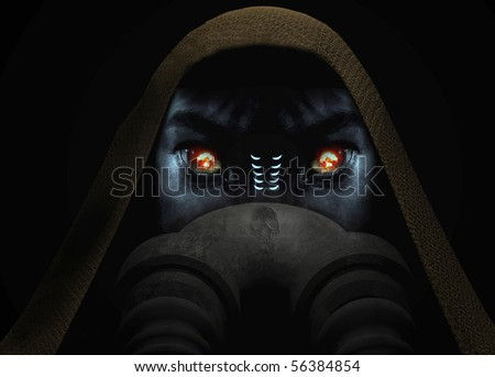 alien face with  breathing apparatus and nuclear explosion reflection in his eyes; icon of a future war. - stock photo