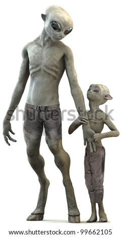 Alien father and son - stock photo