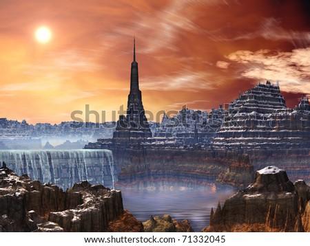 Alien Fortress Ruins overlooking Waterfall - stock photo