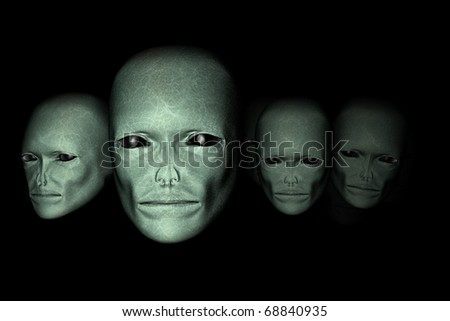 Alien life forms - the discovery of Faces of aliens - the universe and life - stock photo