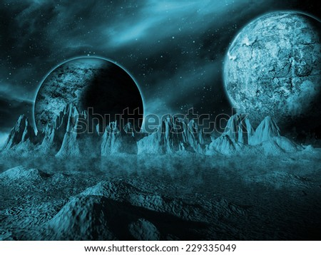 Alien moon rises over a distant planet. Blue Space Scene/Background