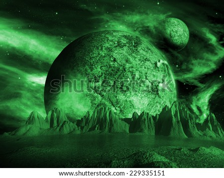 Alien moon rises over a distant planet. Green Space Scene/Background - stock photo