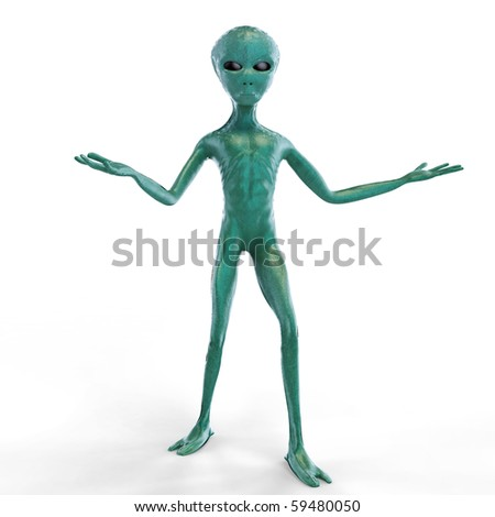Alien on the white background - stock photo