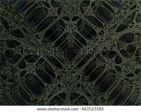 Alien pillars abstract fractal science fiction design in the form of green lace girders for backgrounds and wallpapers