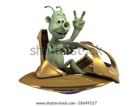 Alien pilot - stock photo