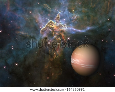 Alien planet against the Carina nebula. Elements of this image furnished by NASA. - stock photo