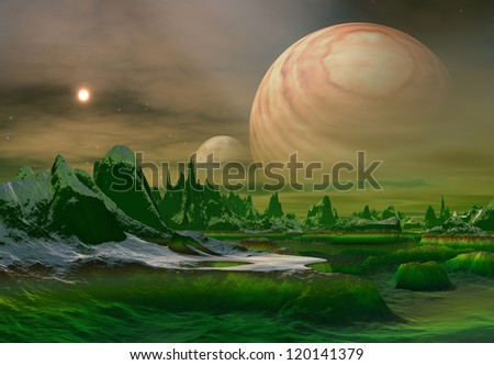 Alien Planet, Computer Artwork - stock photo