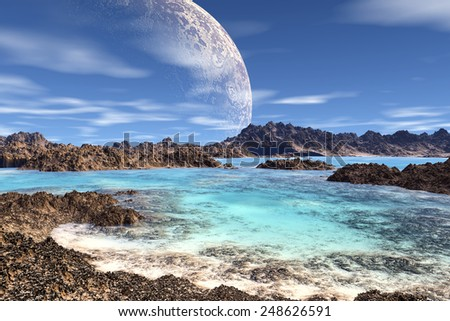 Alien Planet - 3D Rendered Computer Artwork. Rocks and  moon