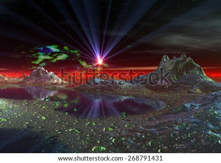 Alien Planet - 3D Rendered Landscape - stock photo
