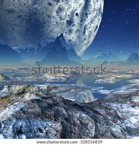 Alien Planet - Fantasy Landscape - stock photo
