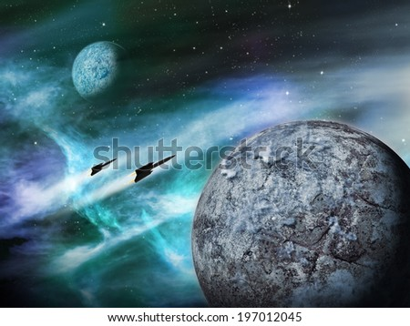 Alien planet in a distant space nebula. - stock photo