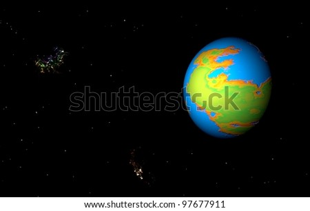 Alien planet in deep space