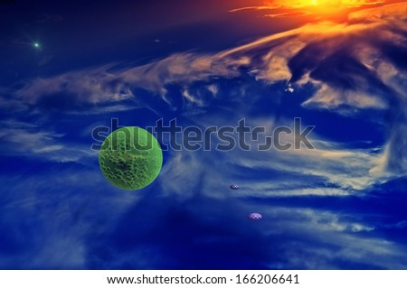Alien Planet in the fantasy space. - stock photo