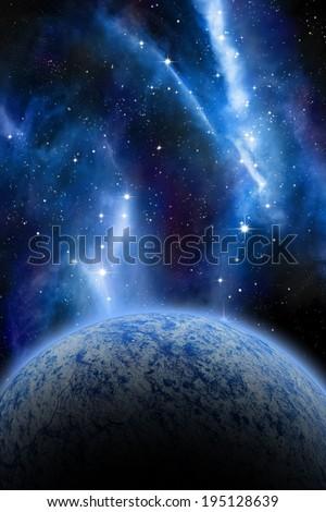 Alien Planet sci-fi space scene. Artist's Rendition. - stock photo
