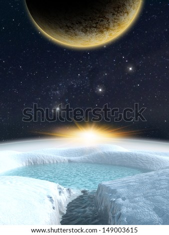 Alien planet. Sunrise and moon viewed from a frozen distant planet. - Artist impression of fantasy landscape - stock photo