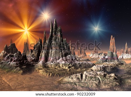 Alien Planet Talos, fantasy landscape somewhere in the universe - stock photo