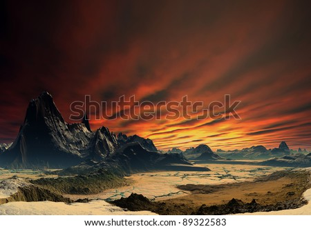 Alien Planet Traos part 02, fantasy planet with a rocky and dry surface - stock photo