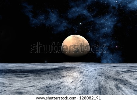 Alien Planet With A Moon - Computer Artwork - stock photo
