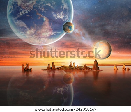 Alien Planet With Earth Moon And Mountains . 3D Rendered Computer Artwork. Elements of this image furnished by NASA
