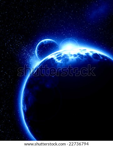 Alien planet with moon on a dark background
