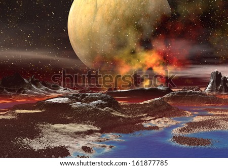 Alien Planet with Mountains and a Moon - 3D Rendered Computer Artwork